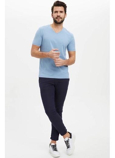 DeFacto Basic Slim Fit T-Shirt Mavi